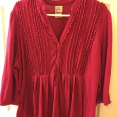 JMS 2x empire top. Deep pink, JMS 2x. Good condition, used but still has life to give. Cute ruffle on front, button closure on sleeves. Just My Size Tops Blouses