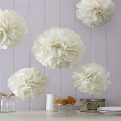 3 large and 2 small fantastic ivory tissue paper Pom Poms. Open them out and hang them up to create the wow factor. Use them in conjunction with our Lace Bunting to put together a truly romantic look. The Pom Poms are cm and cm round when fluffed out. Tissue Pom Poms, Tissue Paper, Tissue Balls, Paper Poms, Paper Tree, Wedding Supplies, Party Supplies, Party Shop Online, Lace Bunting
