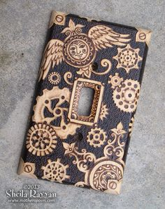 Wood Switchplate Cover - Steampunk Pyrography