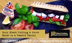 Bury Black Pudding with Greek Salad on a toasted Panini. Pudding Recipes, Snack Recipes, Black Pudding, Greek Salad, Bury, Feta, Sandwiches, Chips, Meals