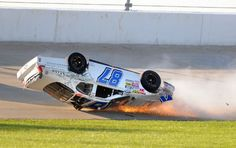 Joe Nemechek crashes in a Nascar Nationwide Series race.