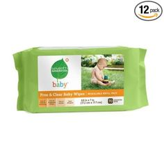 $73 Amazon.com: Seventh Generation Free & Clear Baby Wipes with easy open top, 64 count packs (pack of 12) (840 wipes): Baby
