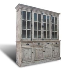 """This antique looking, whitewashed """"english hutch"""" brings charm to any room. Carefully distressed in a grey limed finish, it's perfect for displaying fine china. Dining Room Office, Dining Room Hutch, Home Office Space, Built In Hutch, Antique Chinese Furniture, Grey Wash, Bedroom Furniture, Furniture Ideas, Built Ins"""