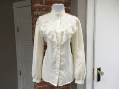 Vintage 70s Lace Ruffled Victorian Blouse Top Cream High Collar by PopFizzVintage on Etsy