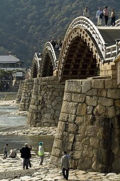 The Old Samurai Bridge Kintai bridge - historical wooden arch bridge, Iwakuni, Yamaguchi, Japan