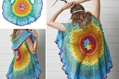 A beautiful crochet mandala vest with a free pattern and video tutorial! We've also got some great crochet mandala inspiration for you here! Crochet Circle Vest, Cardigan Au Crochet, Gilet Crochet, Crochet Coat, Crochet Circles, Crochet Jacket, Crochet Shawl, Crochet Yarn, Crochet Clothes