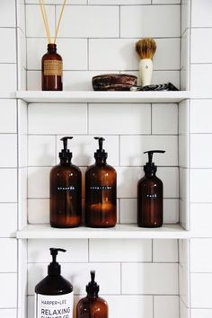 Amber shampoo bottle DIY, great for fall bathroom decor. Bathroom Organization, Bathroom Storage, Small Bathroom, Master Bathroom, Bathroom Ideas, Neutral Bathroom, Shower Ideas, Diy Bathroom Decor, Budget Bathroom