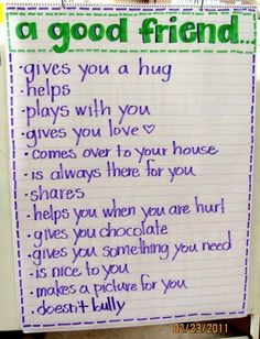 teach children how to be a good friend and what to expect from a good friend.