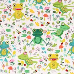 white frog leaf animal fabric Timeless Treasures 1