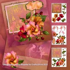 Tropical Hibiscus Flowers & Lace Fairy Friends Decoupage Kit - This gorgeous 8x8 kit features the colors of a tropical sunset embellished with the silhouette of two fairy friends playing in a berry patch with hibiscus flowers.  Art by Hafapea & Jaguarwoman. #CardMakingKits #CraftsUPrint #LisaMayette #Hafapea