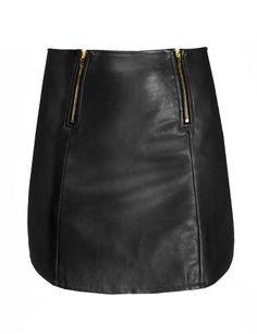 Black Leather Zipper Mini Skirt - Glamorous Black Skirt -$58