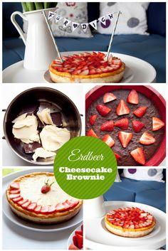Leckerer Erbeer-Cheesecake-Brownie von dem garantiert kein Stück übrig bleibt. ;)   #cheesecake #brownie #erbeerkuchen #käsekuchen #sommer  http://www.fotokasten.de/blog/deine-lieblingsfruehlingssuende-erdbeer-cheesecake-brownie/