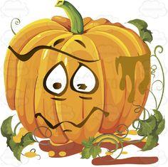 Sad, Tearful Orange Pumpkin Face With Green Vines #autumn #celebration #emotion #expression #face #fall #feeling #halloween #holiday #jackolantern #mood #november #october #orange #patch #pumpkin #thanksgiving #vegetable #vine #vector #clipart #stock