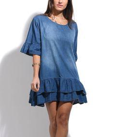 Cobalt Blue Denim Ruffle-Hem Shift Dress