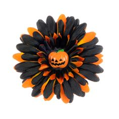 Black & Orange Flower Clip with Pumpkin Resin!   Price: $2.98