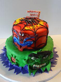 Spiderman and Hulk Birthday Cake cakes Pinterest Hulk birthday