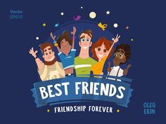 Best Group Team Friends Vector Character Design Illustration Logo Mascot