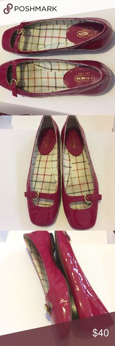 Coach Ellyce Pink Patent Leather Mary Jane 8B EUC Coach pink Patent leather Mary Jane shoe. Size 8B. EUC. Small black scuffs on inner Patent of both toes. Small nick on right shoe near heel. Please see photos. Coach Shoes Flats & Loafers
