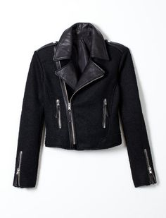 BLACK BOUCLE MOTO WOMENS JACKET #TRholiday13 where can I find $350 and a guy with a motorcycle i could rock this jacket with! so cute