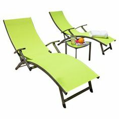Enjoy an afternoon on the patio or relax poolside with this chic outdoor seating set. 2 chaises with bold lime-hued seats invite you to relax in style, while the complementing side table offers the perfect spot to rest a tray of cocktails or your latest read.   Product: Set of 2 chaises and  side tableConstruction Material: Aluminum, polyester, tempered glass and PVC coatingColor: LimeFeatures:  Suitable for outdoor useFour adjustable backrest positionsWeatherproof coating Tempered glass ...