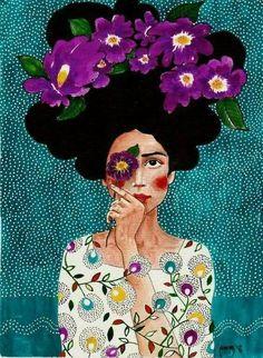 Paintings by Hülya Özdemir - Ego - AlterEgo - flowers drawing Art Inspo, Inspiration Art, Art And Illustration, Art Illustrations, Frida Art, Fantasy Kunst, Art Design, Art Plastique, Oeuvre D'art