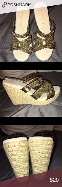 """""""Very Volatile"""" women's platform wedge Women's 9 Bronze beaded straps with added larger jewels Rattan woven heel with small amount of gold threading  4.75"""" inch heel  Brand new, never worn. NWOT Shoes Platforms"""