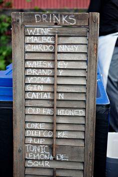 Rustic drink menu