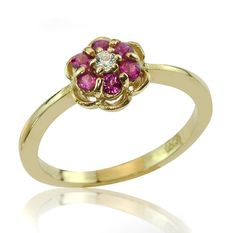 Vintage Style 14K Gold Ruby and Diamond Floral by netawolpe