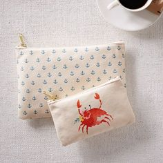 Nautical Canvas Pouch, Charlotte the Crab, Natural