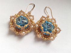 beadwoven earrings handmade of gold seed beads by tizianat on Etsy
