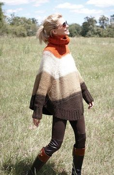 ~inspiration- shape, stripes but cowl not turtle~ Michael Kors Stripe Turtleneck Poncho Sweater (Regular & Petite) Poncho Pullover, Poncho Sweater, Brown Cardigan, Cardigan Pattern, Fashion Moda, Knit Fashion, Fall Winter Outfits, Autumn Winter Fashion, Fashion Fall