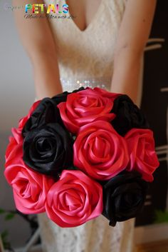 Pink & Black Panther Satin Ribbon Rose Bouquet by CuriousPetals, £60.00