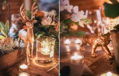 Large gold animals add drama to table ~ we ❤ this! moncheribridals.com