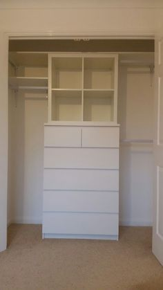 Wardrobe / closet made from Malm chest of drawers and Kallax shelves, plus. Wardrobe / closet made from Malm chest of drawers and Kallax shelves, plus 3 hanging rails Walk In Closet Ikea, Ikea Closet Hack, Ikea Closet Organizer, Closet Hacks, Kid Closet, Wardrobe Closet, Closet Organization, Closet Drawers Ikea, Ikea Closet Storage
