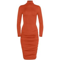 Venus Plus Size Women's Long Sleeve Ruched Dress ($32) ❤ liked on Polyvore featuring plus size women's fashion, plus size clothing, plus size dresses, orange, ruching dress, long sleeve ruched dress, red orange dress and mock neck long sleeve dress