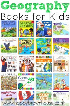 """Geography Books for Kids a great list of books about world maps and globes from Happy Brown House. """"I like this resource because it lists more geography books for all ages. And there are a range of books, picture, informational, chapter, etc. Geography For Kids, Geography Activities, Teaching Geography, World Geography, Geography Map, Geography Quotes, Maps For Kids, Geography Lessons, Teaching History"""