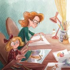 Dreaming of the day Colette and I will draw together. ☺️ #dreams #draw #family #sketch #color #tendermoments #familytime #kidlit #illustration #art #ldsartist #schoolism #byualumni #byugrad #childrensbook #ipadpro #ipadart #procreateapp #sketchdailies