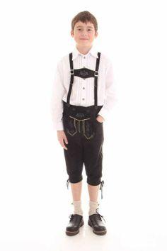 #Kinderlederhose - Farbe: schwarz - unverwüstliche #Kniebundlederhose für Buben - black kneelength #lederhosen for boys
