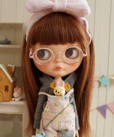 *** Custom Blythe *** pink glasses *** Buy her here: #blythe #blythedolls…