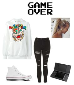 GAME OVER by animegirllover on Polyvore featuring polyvore fashion style Moschino Topshop Converse
