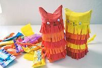 Kitty Pinata Made From A Cardboard Roll - Things to Make and Do, Crafts and Activities for Kids - The Crafty Crow