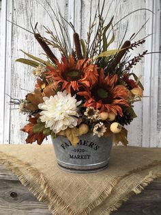 Farmers Market Fall Arrangement from my shop: Farmers Market Sunflower and Cattail Late Summer and Autumn Floral Arrangement, Galvanized Tin Fall Centerpiece, Farmhouse Fall Table Decor Fall Decor ideas Flower Arrangement Designs, Fall Floral Arrangements, Halloween Flower Arrangements, Sunflower Table Arrangements, Artificial Floral Arrangements, Diy Projects For Fall, Fall Crafts, Diy Crafts, Craft Projects