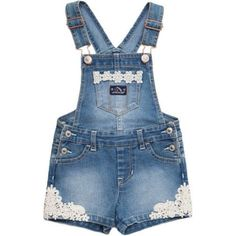 Jordache Baby Toddler Girl Embroidered Denim (Blue) Short Overalls, Size: 3 Years