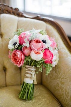 Bright pink bouquet by Emerson Events. Photo by Amanda Watson Photography. #wedding #bouquet #pink