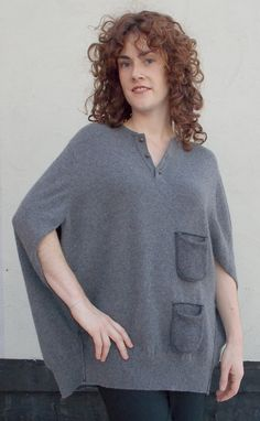 Hand stitched & repurposed gray cashmere poncho w/pockets.