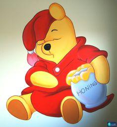 Muurschildering slapende Pooh