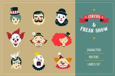 Freak Show, circus icons & posters by Marish on Creative Market