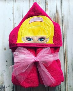 **Baby Birds Closet** This listing is for a custom Barbie hooded towel. Price includes child's name on the back of the towel. ••Colors for towels depend on season. Colors in photos might not be available.  My towels are full sized towel perfect for ALL ages!  I do take custom orders for designs you don't see in my shop