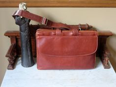 Johnston & Murphy Mahogany Pebbled Leather Briefcase Portfolio Attache With Zip Around Closure and Strap- Very Nice by ProVintageGear on Etsy