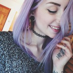 Her hair and piercings are rad Pastel Hair, Purple Hair, Pastel Goth, Baby Girl Hair, Coloured Hair, Dye My Hair, Scene Hair, Rainbow Hair, Crazy Hair